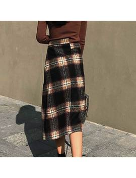 Aubin Checkered Houndstooth Plaid Skirt by Jessica Buurman