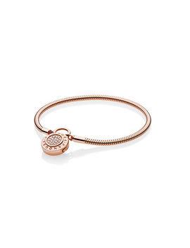 Smooth Pandora Rose™ Bracelet, Signature Padlock, Clear Cz by Pandora