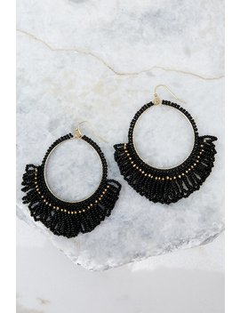 Looking Out Black Beaded Earrings by Golden Stella