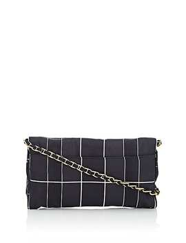 Donna Windowpane Plaid Satin Shoulder Bag by Prada