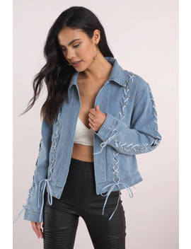 Beulah Natasha Lace Up Denim Jacket by Tobi