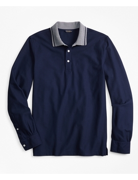 Two Tone Long Sleeve Polo Shirt by Brooks Brothers