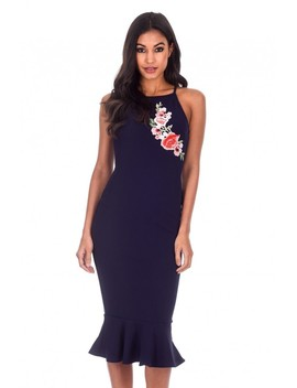 Navy Floral Embroidered Midi Dress by Ax Paris