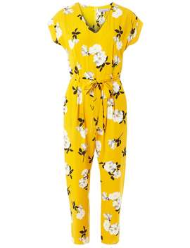 Petite Yellow Floral Print Jumpsuit by Dorothy Perkins
