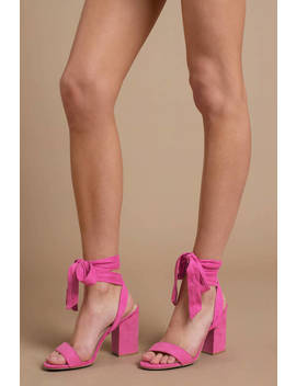 Evelyn Pink Wrap Heels by Tobi