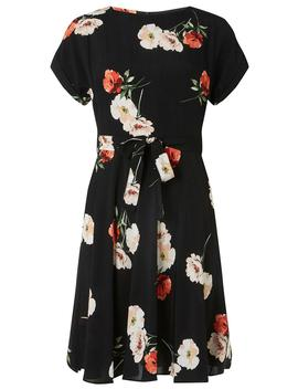 Petite Black Poppy Print Fit And Flare Dress by Dorothy Perkins
