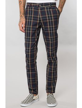Navy Tartan Plaid Slim Tapered Pant by Elwood Clothing