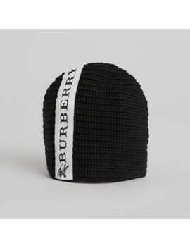 Logo Stripe Wool Beanie by Burberry