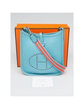 16cm Blue Saint Cyr Clemence Leather Evelyne Amazon Tpm Bag by Hermes