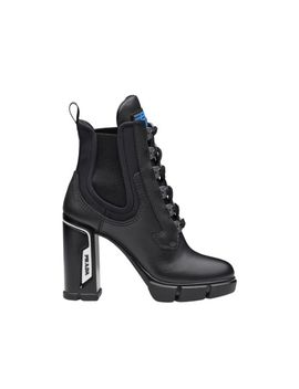 Laced Leather Booties by Prada