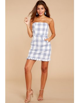 Frilled About It Blue Gingham Dress by One And Only Collective