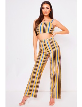 Miley Pink Striped Two Piece Set by Misspap