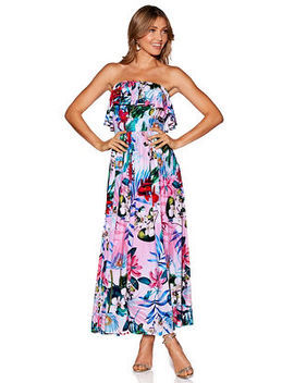 Strapless Ruffle Floral Maxi Dress by Boston Proper