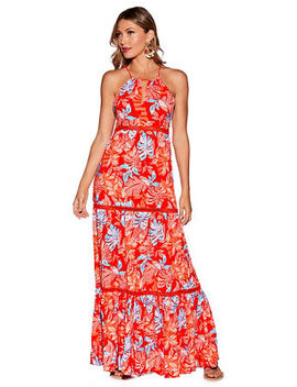 Red Floral Maxi Dress by Boston Proper