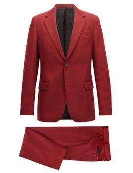 Made In Germany Slim Fit Kostuum, Gemaakt Van Een Twill Van Scheerwol by Boss