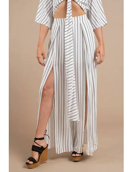 Renegade White Striped Wide Leg Pants by Tobi