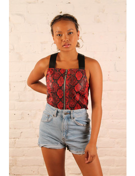 The Ragged Priest Red Snake Print Top by The Ragged Priest