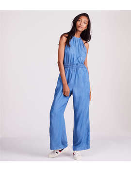 Lou & Grey Chambray Halter Jumpsuit by Lou & Grey