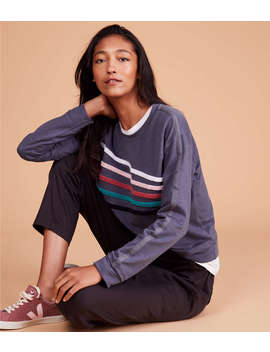 Sundry Chenille Stripes Crew Neck Pullover by Lou & Grey