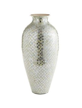 tall-white-&-silver-mosaic-urn-vase by pier1-imports