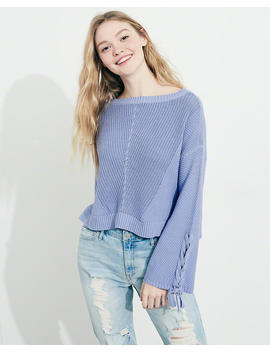 Lace Up Bell Sleeve Sweater by Hollister