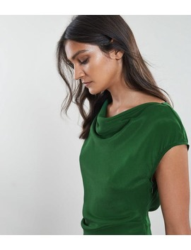 Lore Capped Sleeve Dress Dark Green by Reiss