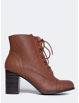 Lace Up Heeled Bootie by Zooshoo