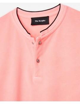Pink Cotton Piqué Collarless Polo Shirt Pink Cotton Piqué Collarless Polo Shirt by The Kooples