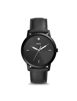 The Minimalist Carbon Series Three Hand Black Leather Watch by Fossil