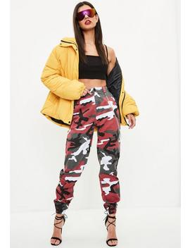 Red Chain Detail Camo Trousers by Missguided
