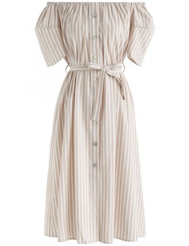 Just For Stripes Off Shoulder Dress In Tan by Chicwish