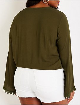 Plus Size Crochet Bell Sleeve Top by Charlotte Russe