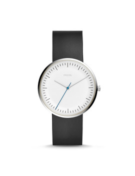 Essentialist Three Hand Black Leather Watch by Fossil