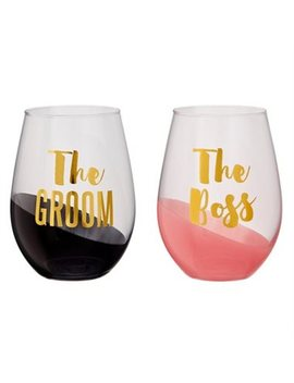 Slant Collections Stemless Wine Glasses – Boss &Amp; Groom, Set Of 2 by Slant Collections