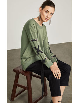 Lace Up Sleeve Terry Sweatshirt by Bcbgmaxazria
