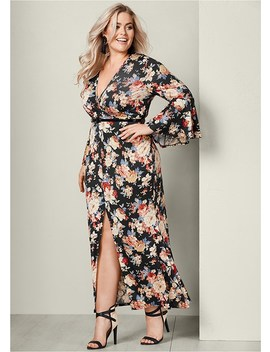 Plus Size Bell Sleeve Floral Dress by Venus
