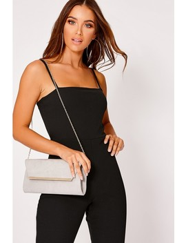 Grey Faux Suede Metal Trim Envelope Clutch Bag by In The Style