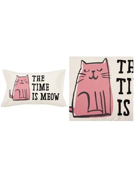 "Expressions Pillow Cover – Time Is Meow, 12"" X 21"" by Indigo"
