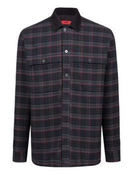 Glen Check Cotton Shirt With Contrast Collar by Boss