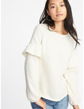 French Terry Ruffle Sleeve Sweatshirt For Women by Old Navy