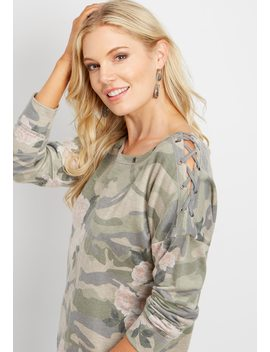 Grommet Neck Lace Up Shoulder Pullover by Maurices