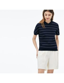 Women's Finely Striped Honeycomb Polo by Lacoste