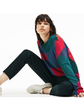Women's Crew Neck Colorblock Print Jacquard Sweater by Lacoste