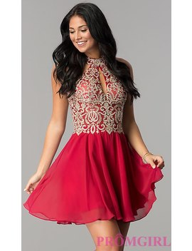 Short Homecoming Dress With Sheer Cut Out Bodice by Promgirl
