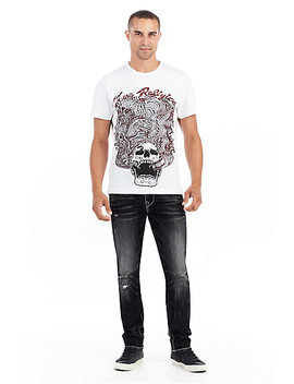 Mens Embroidered Wavy Skull Tee by True Religion