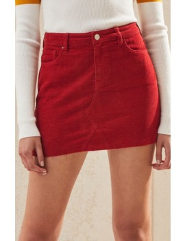 Pac Sun Fire Red Vintage Corduroy Skirt by Pac Sun