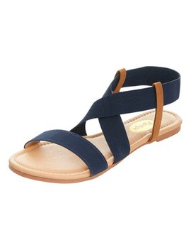 Navy Crisscross Strap Sandal   Women by Floopi