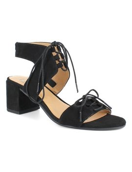 Black Lace Up Heeled Sandal   Women by Zulily