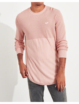 Lightweight Curved Hem Sweater by Hollister