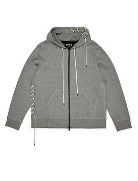 Craig Green M Main Laced Zip Up Hoodie (Grey) by Dover Street Market